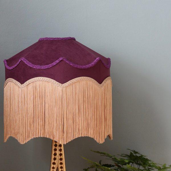 Handsydd Lampskärm Belle - Plommonlila sammet