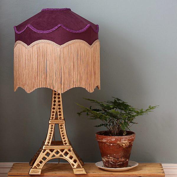 Lampskärm Belle - Plommonlila sammet