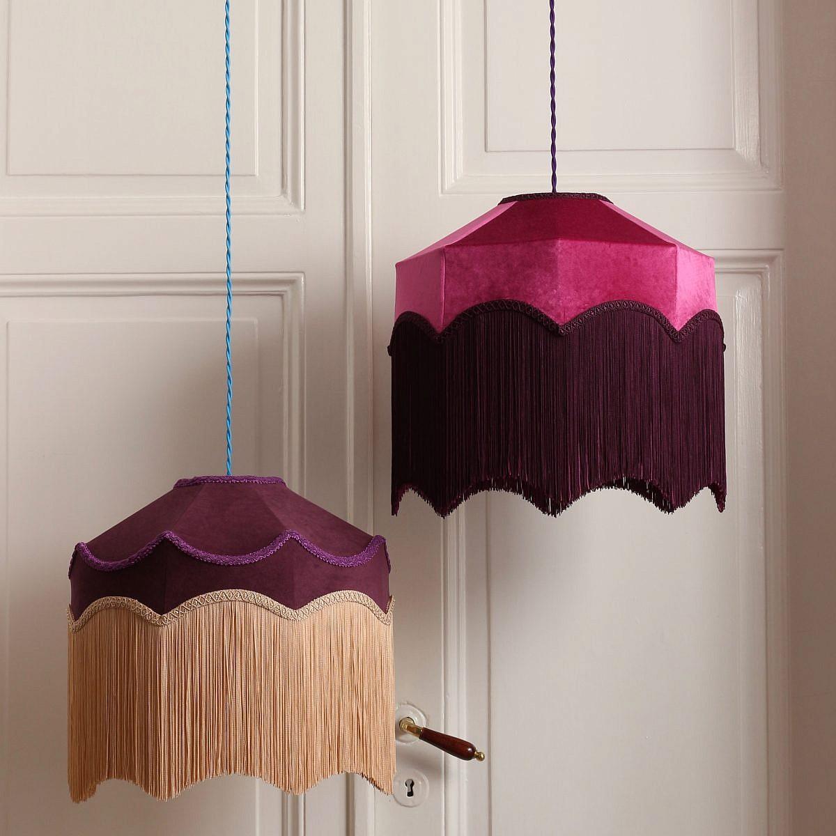 Lampskärm Sarbina & Bellar, sammetslampskärmar med frans