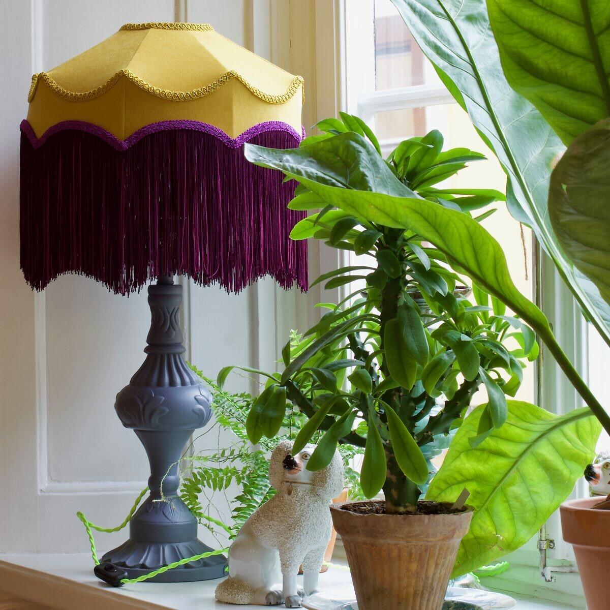 Lampskärm Belle currygul sammet